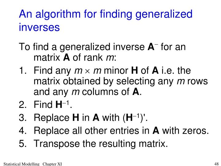 An algorithm for finding generalized inverses