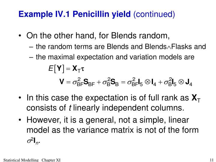 Example IV.1 Penicillin yield