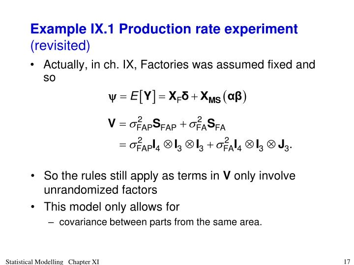 Example IX.1 Production rate experiment