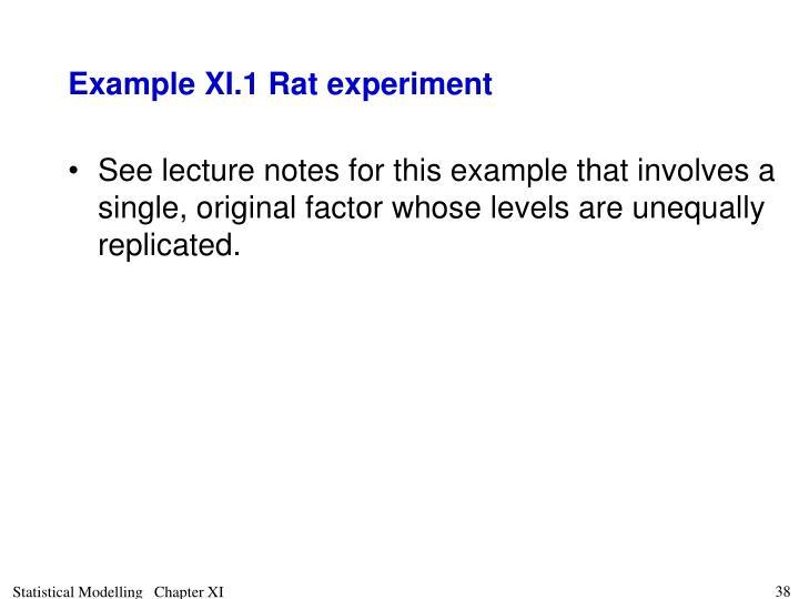 Example XI.1 Rat experiment