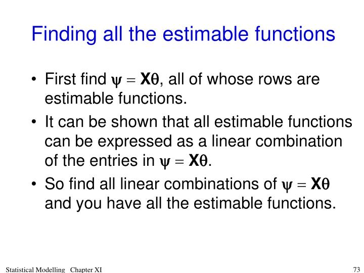 Finding all the estimable functions