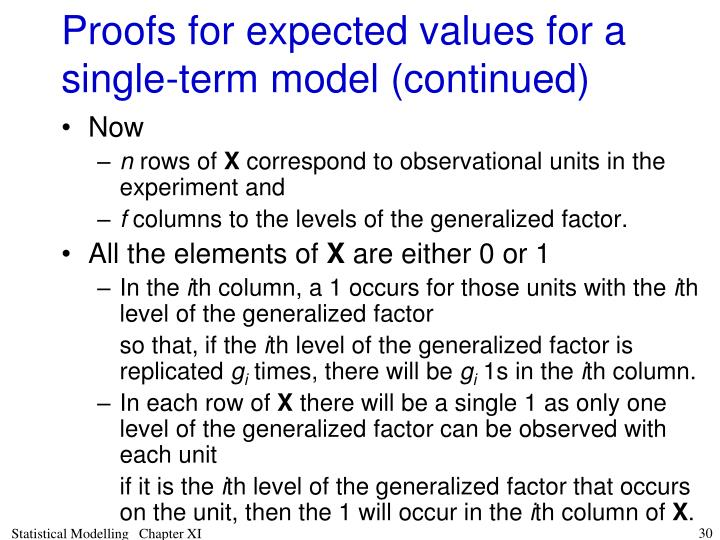 Proofs for expected values for a single-term model (continued)