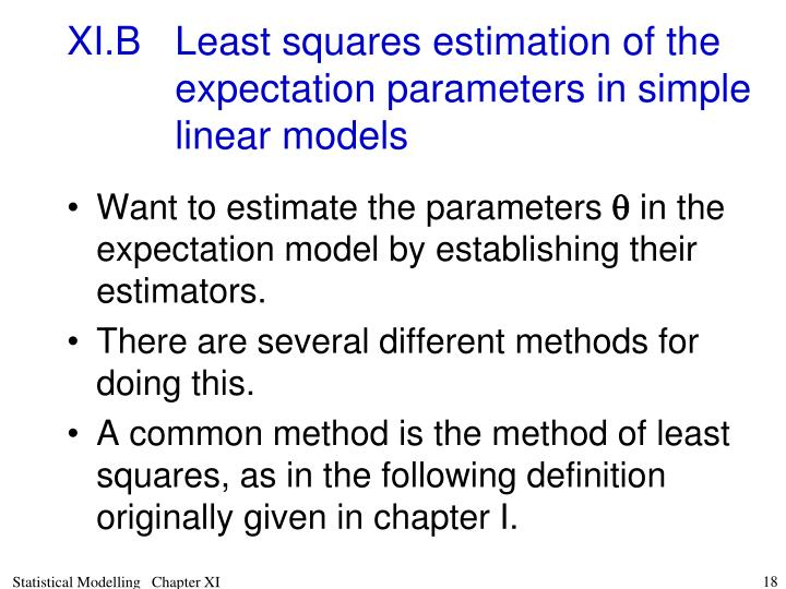 XI.BLeast squares estimation of the expectation parameters in simple linear models