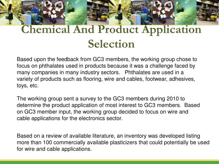 Chemical And Product Application Selection