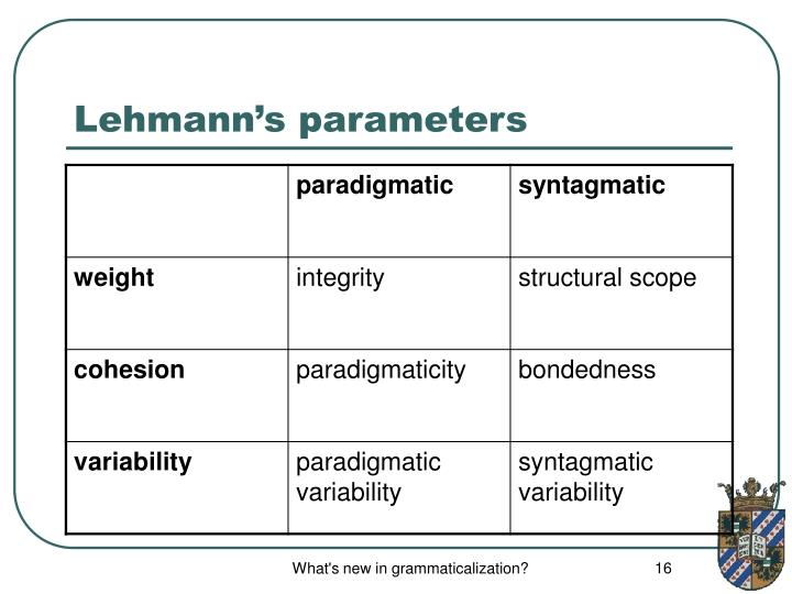 Lehmann's parameters
