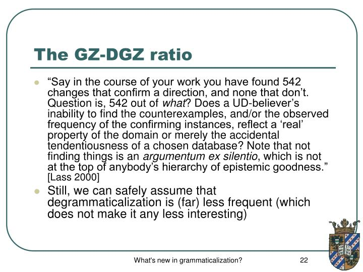 The GZ-DGZ ratio