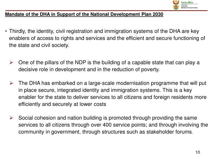 Mandate of the DHA in Support of the National Development Plan 2030