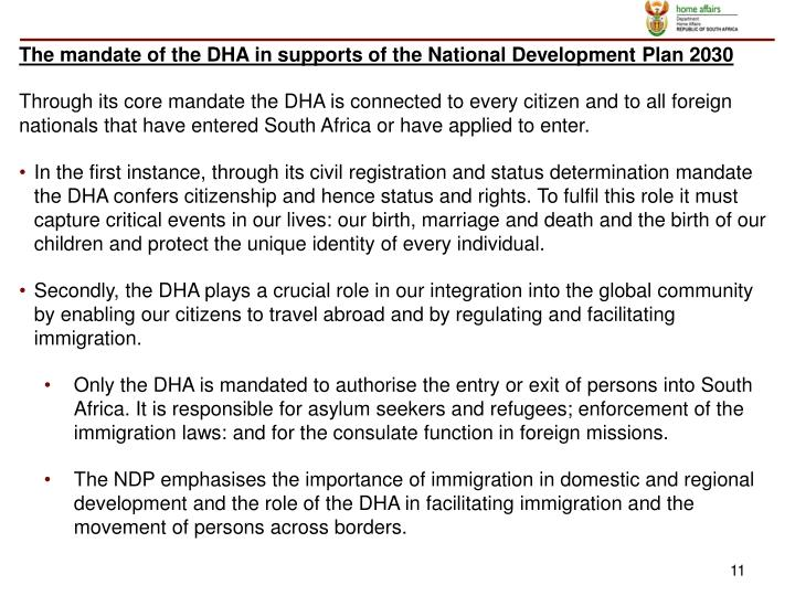 The mandate of the DHA in supports of the National Development Plan 2030