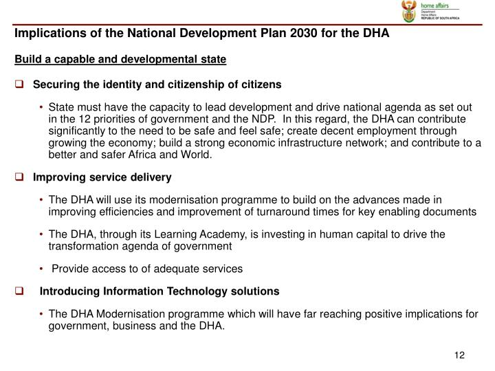Implications of the National Development Plan 2030 for the DHA