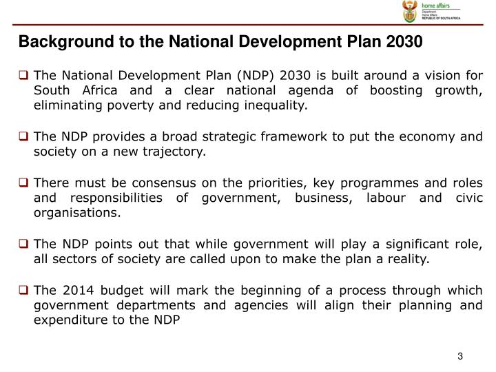Background to the National Development Plan 2030