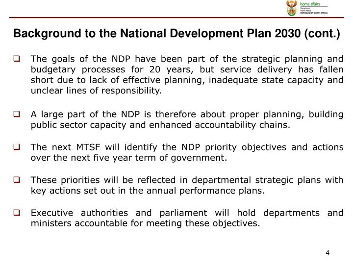 Background to the National Development Plan 2030 (cont.)