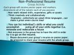 non professional resume