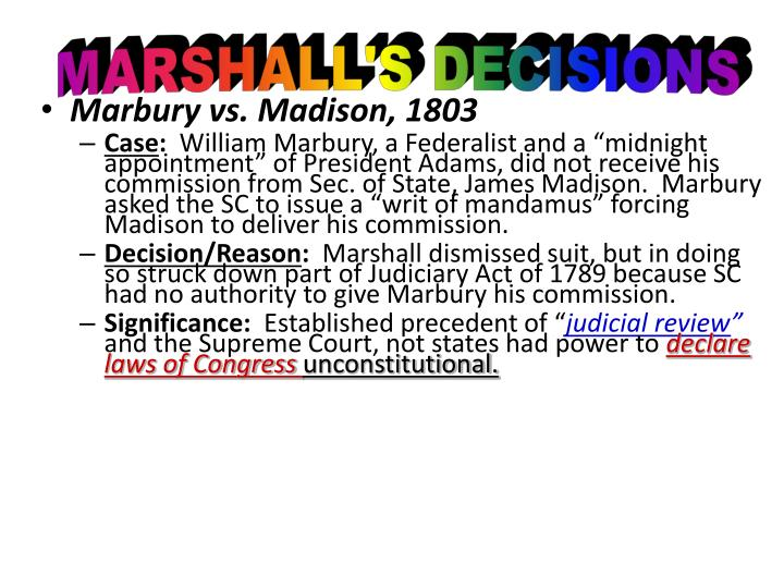 MARSHALL'S DECISIONS