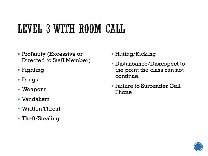 Level 3 with Room Call