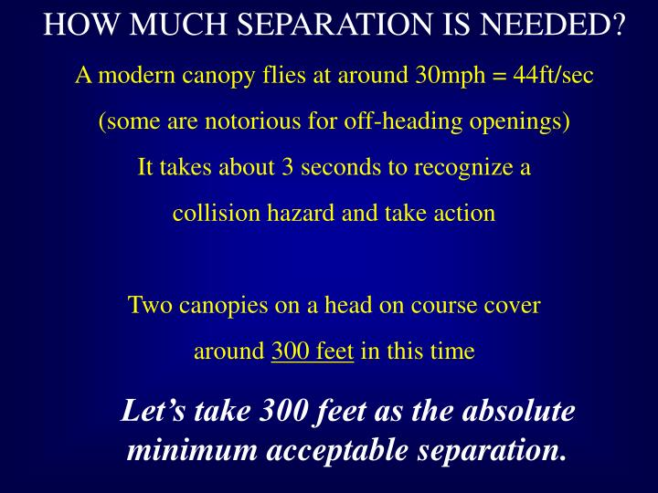 HOW MUCH SEPARATION IS NEEDED?