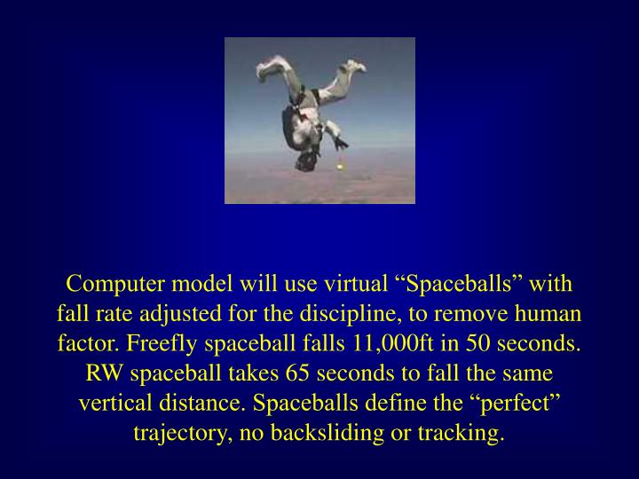 "Computer model will use virtual ""Spaceballs"" with fall rate adjusted for the discipline, to remove human factor. Freefly spaceball falls 11,000ft in 50 seconds. RW spaceball takes 65 seconds to fall the same vertical distance. Spaceballs define the ""perfect"" trajectory, no backsliding or tracking."