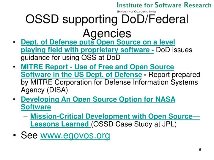 OSSD supporting DoD/Federal Agencies