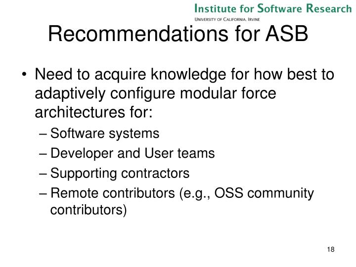 Recommendations for ASB
