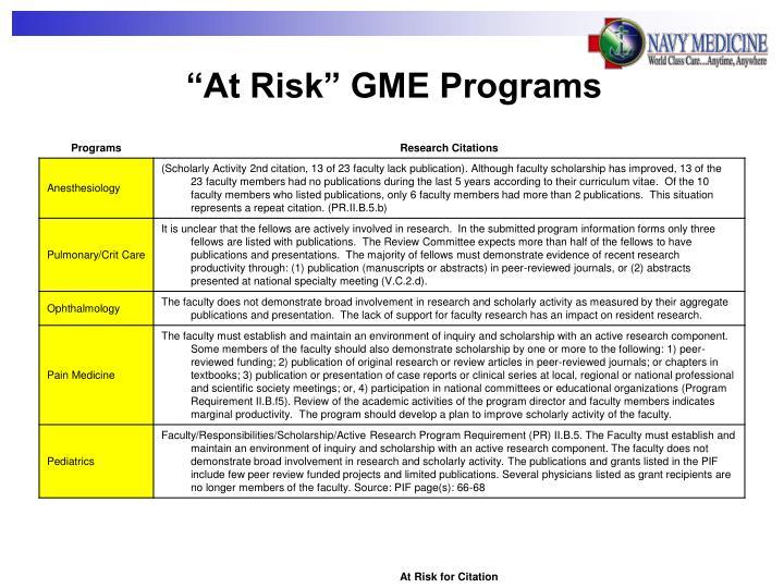 """At Risk"" GME Programs"