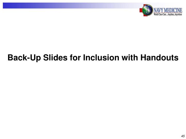 Back-Up Slides for Inclusion with Handouts