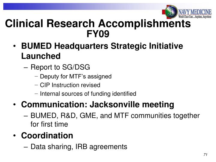 Clinical Research Accomplishments
