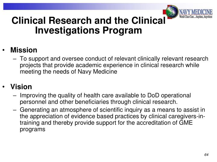 Clinical Research and the Clinical Investigations Program