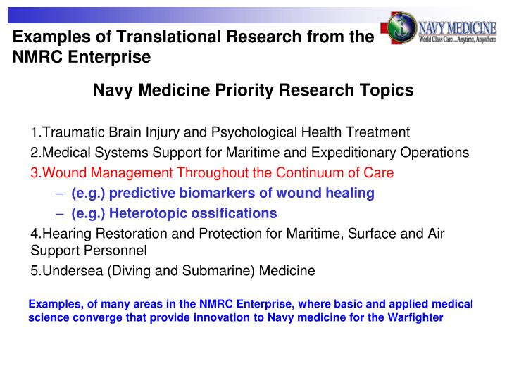 Examples of Translational Research from the NMRC Enterprise