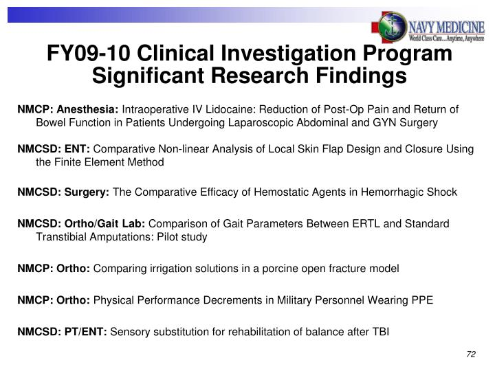 FY09-10 Clinical Investigation Program Significant Research Findings