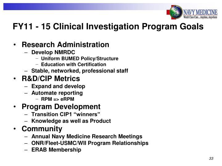 FY11 - 15 Clinical Investigation Program Goals