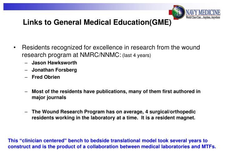 Links to General Medical Education(GME)
