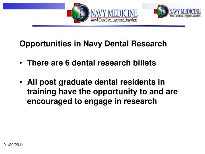 Opportunities in Navy Dental Research