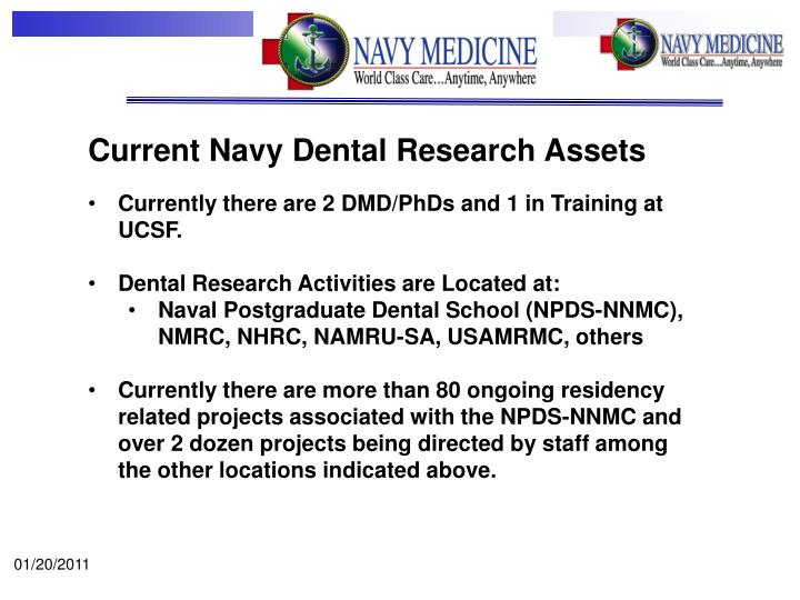 Current Navy Dental Research Assets