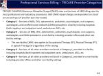 professional services billing tricare provider categories