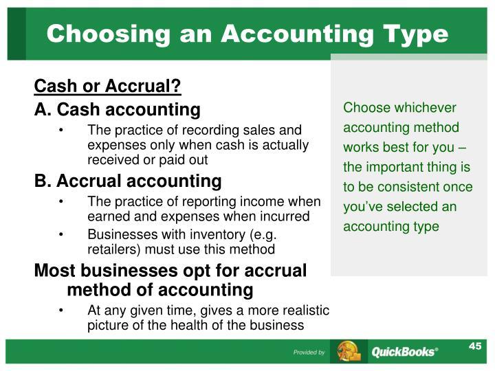 Choosing an Accounting Type