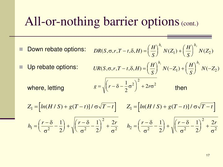 All-or-nothing barrier options