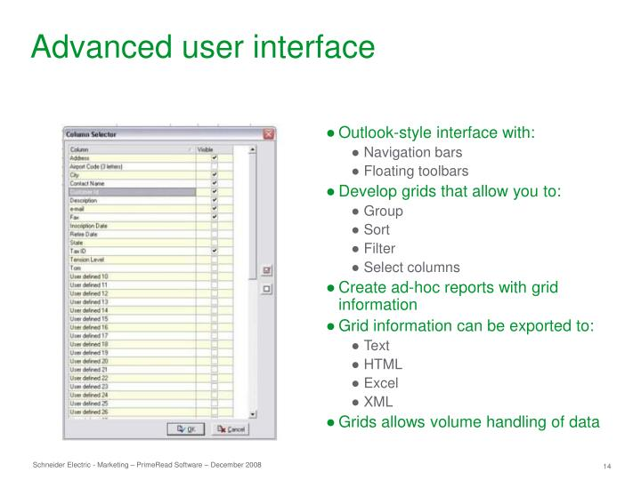 Advanced user interface