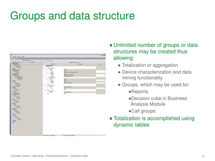 Groups and data structure