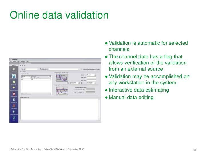 Online data validation