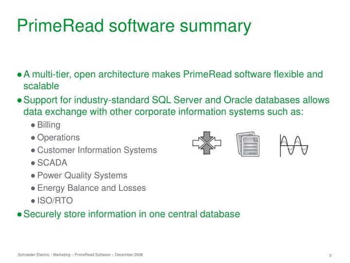Primeread software summary