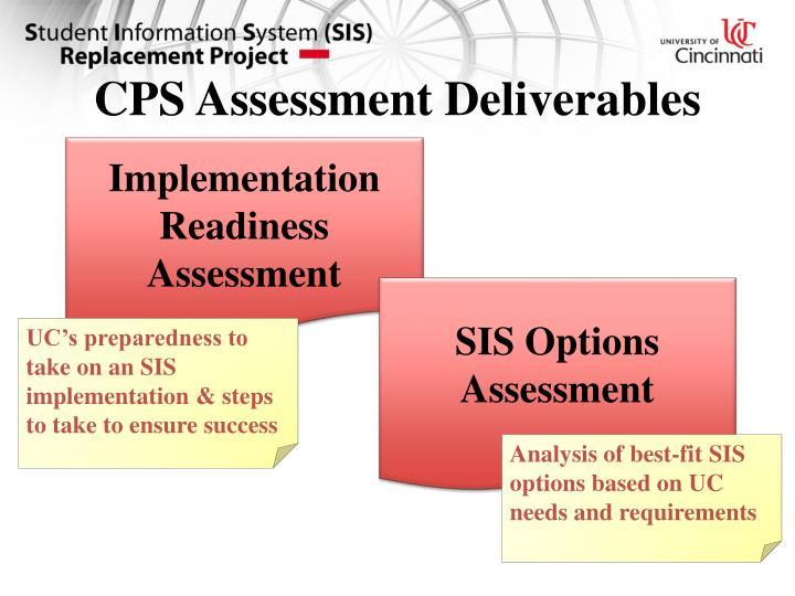 CPS Assessment Deliverables