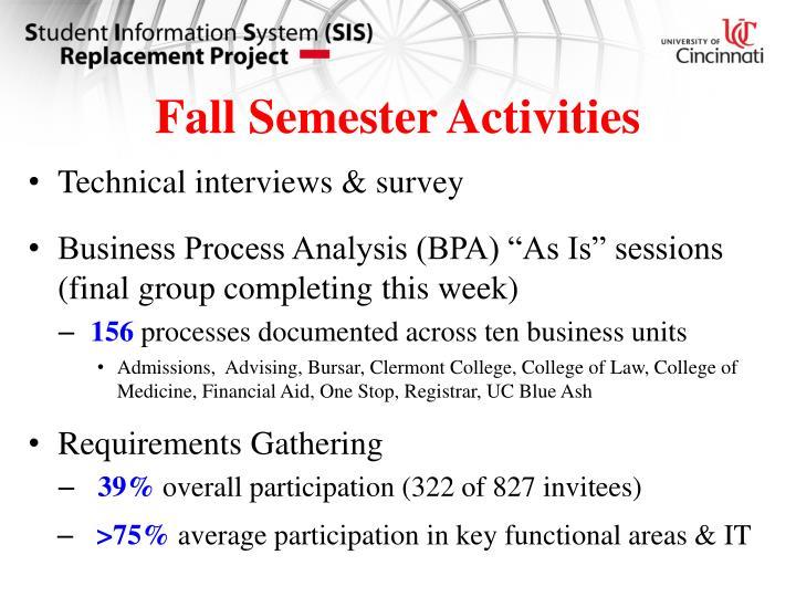 Fall Semester Activities
