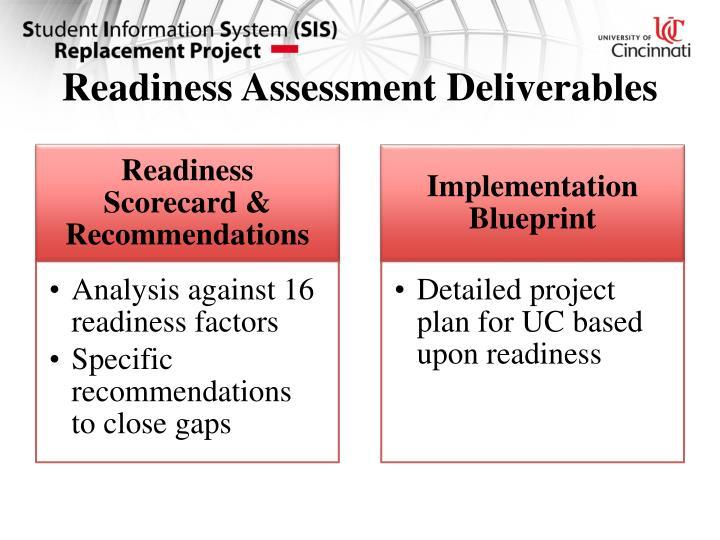 Readiness Assessment Deliverables