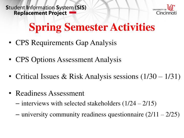 Spring Semester Activities
