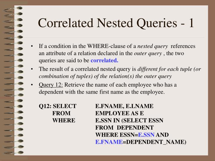 Correlated Nested Queries - 1
