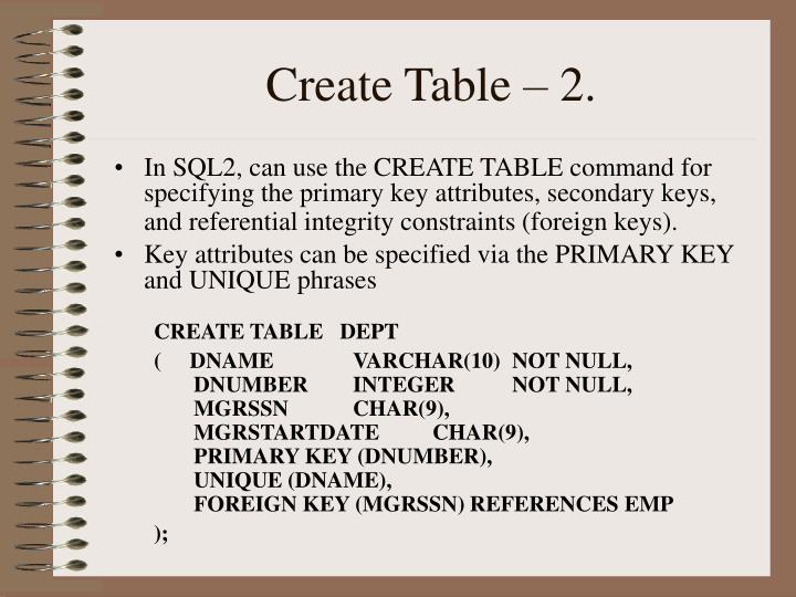 Create table 2