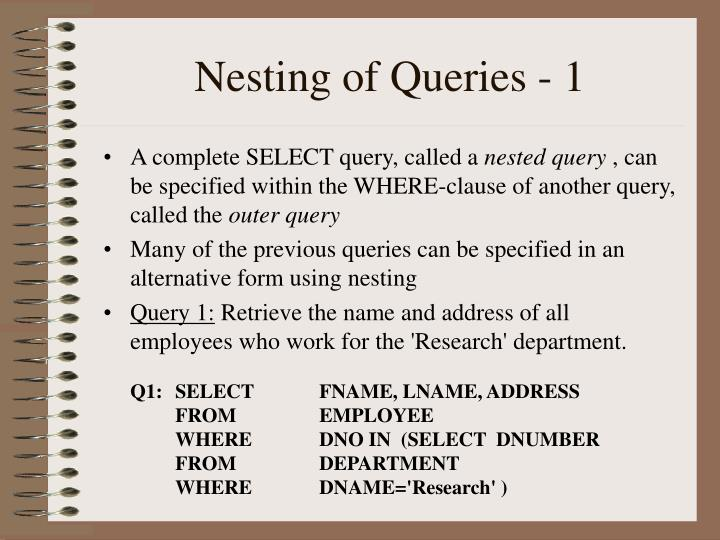 Nesting of Queries - 1