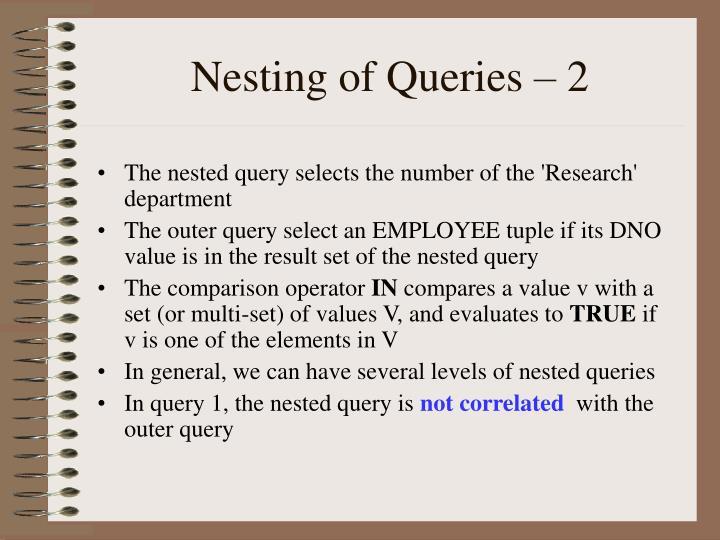 Nesting of Queries – 2