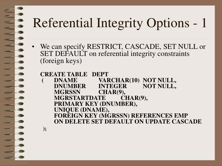 Referential Integrity Options - 1