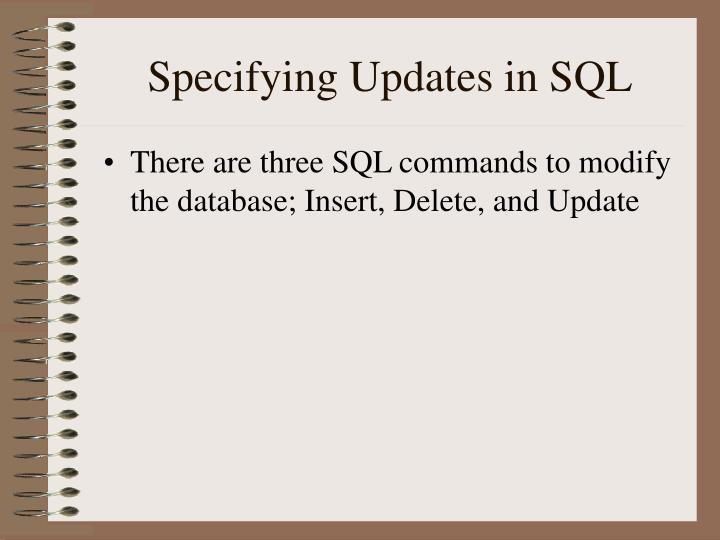Specifying Updates in SQL