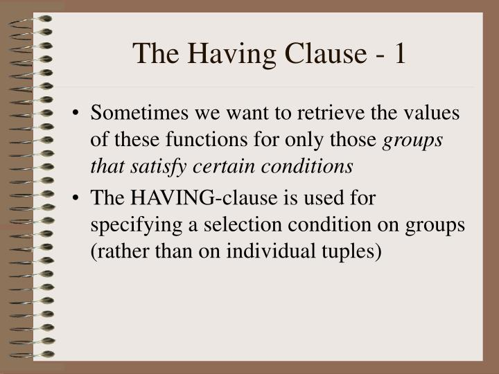 The Having Clause - 1